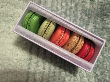 Pistachio, Chocolate Mint, Rose, Macaron of the Month (Maple?), Grand Cru